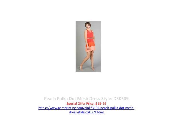 Peach Polka Dot Mesh Dress Style: DSK509