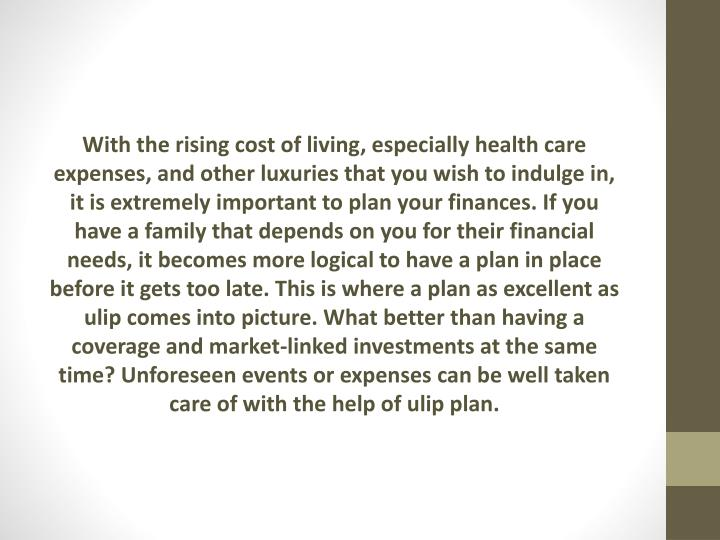 With the rising cost of living, especially health care expenses, and other luxuries that you wish to indulge in, it is extremely important to plan your finances. If you have a family that depends on you for their financial needs, it becomes more logical to have a plan in place before it gets too late. This is where a plan as excellent as