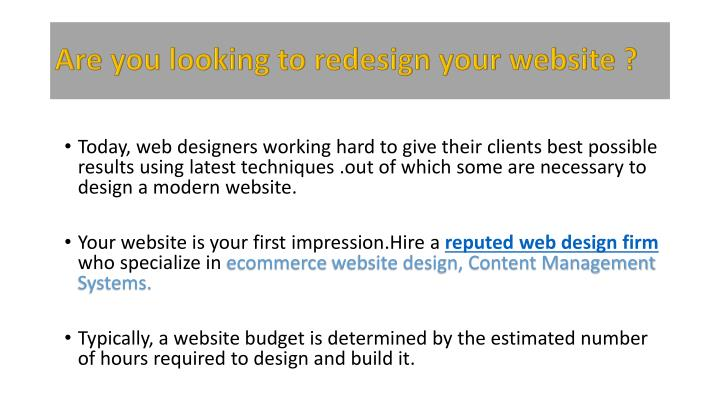 Are you looking to redesign your website ?