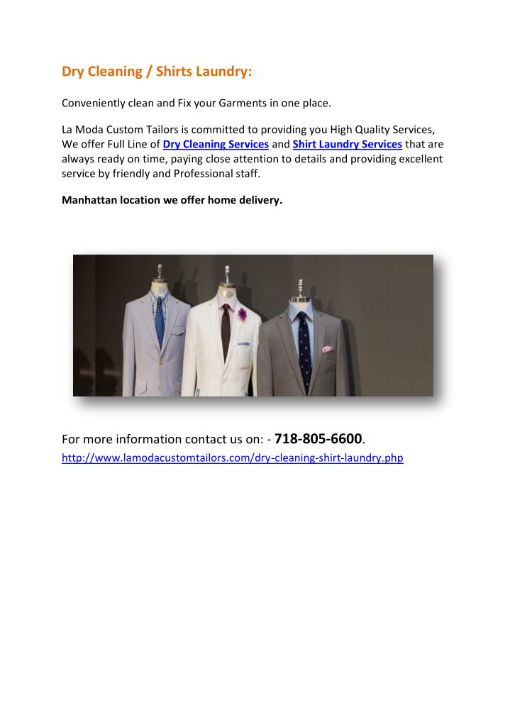 Dry Cleaning / Shirts Laundry: