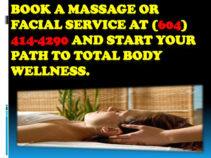 Book a massage or facial service at (