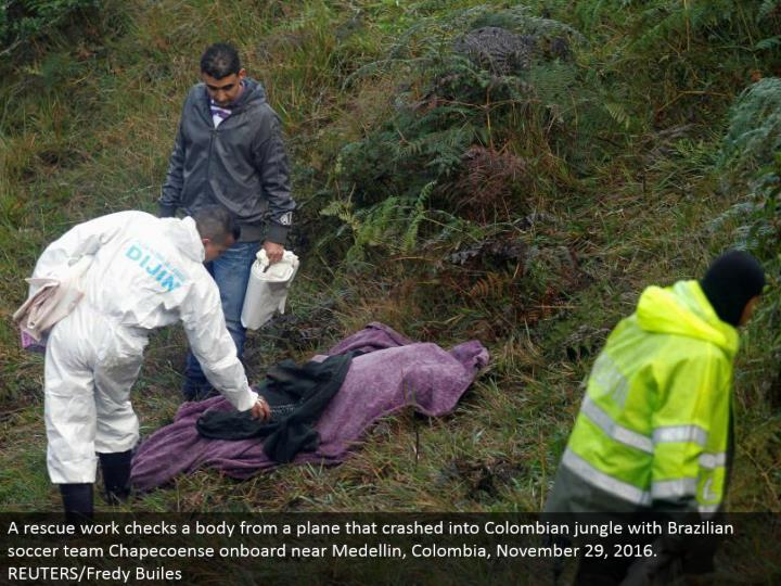 A safeguard work checks a body from a plane that collided with Colombian wilderness with Brazilian soccer group Chapecoense locally available close Medellin, Colombia, November 29, 2016. REUTERS/Fredy Builes
