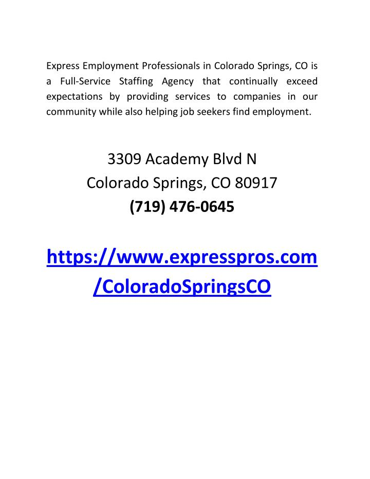Express Employment Professionals in Colorado Springs, CO is