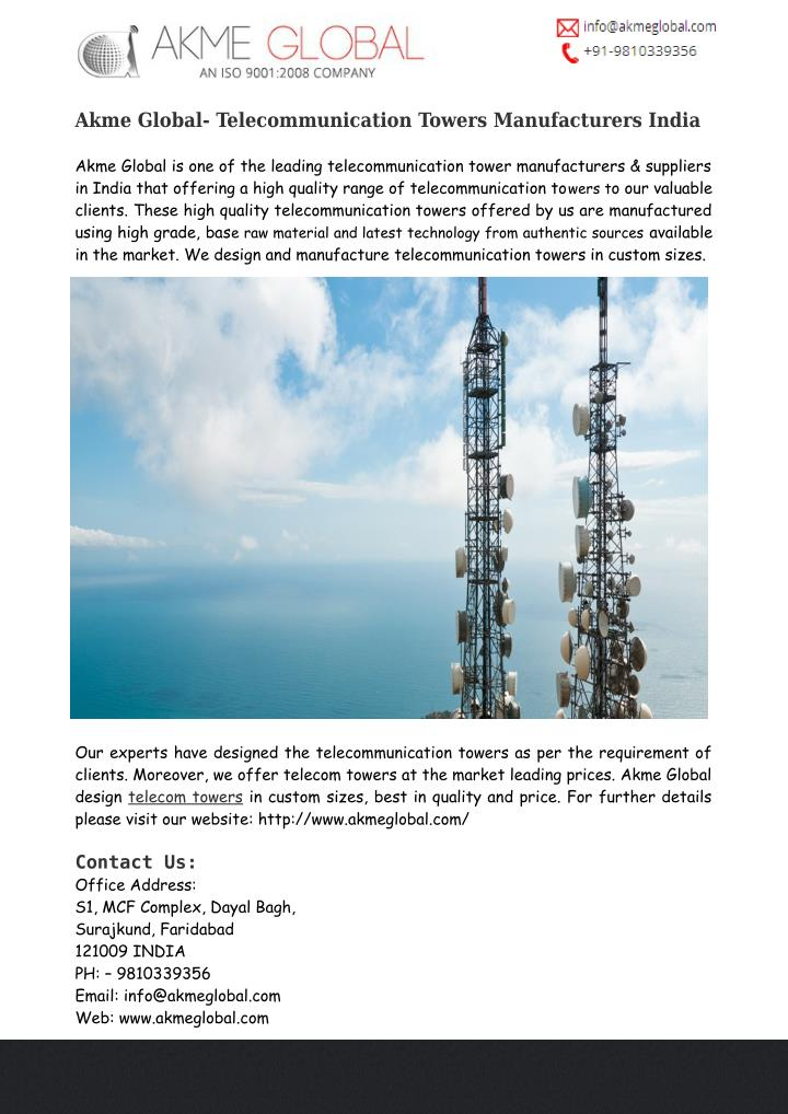 Akme Global- Telecommunication Towers Manufacturers India