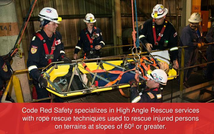 Code Red Safety specializes in High Angle Rescue services with rope rescue