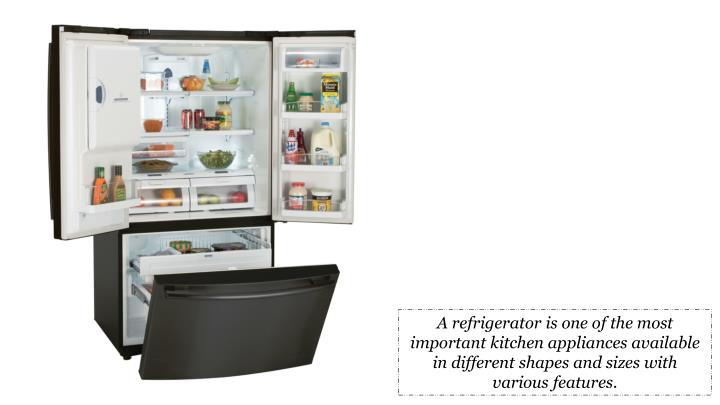 A refrigerator is one of the most important kitchen appliances available in different shapes and sizes with various features.