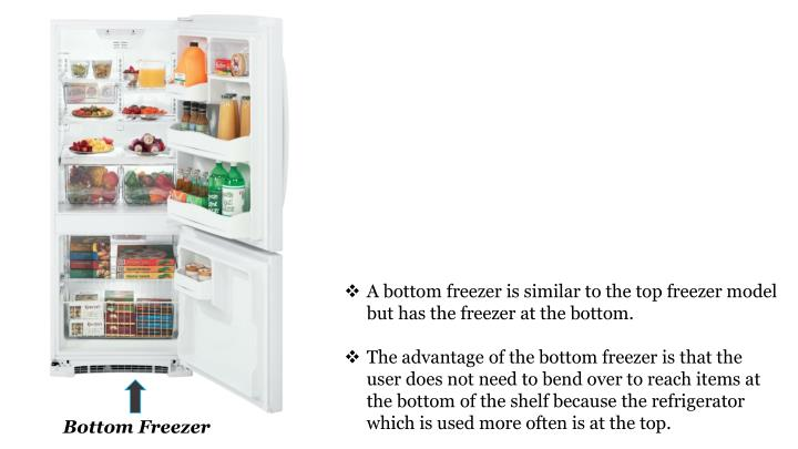 A bottom freezer is similar to the top freezer model but has the freezer at the bottom.