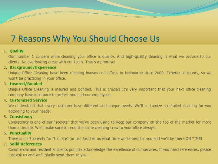 7 Reasons Why You Should Choose Us