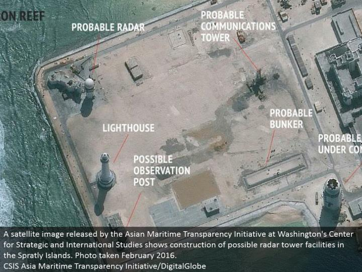 A satellite picture discharged by the Asian Maritime Transparency Initiative at Washington's Center for Strategic and International Studies indicates development of conceivable radar tower offices in the Spratly Islands. Photograph taken February 2016.  CSIS Asia Maritime Transparency Initiative/DigitalGlobe