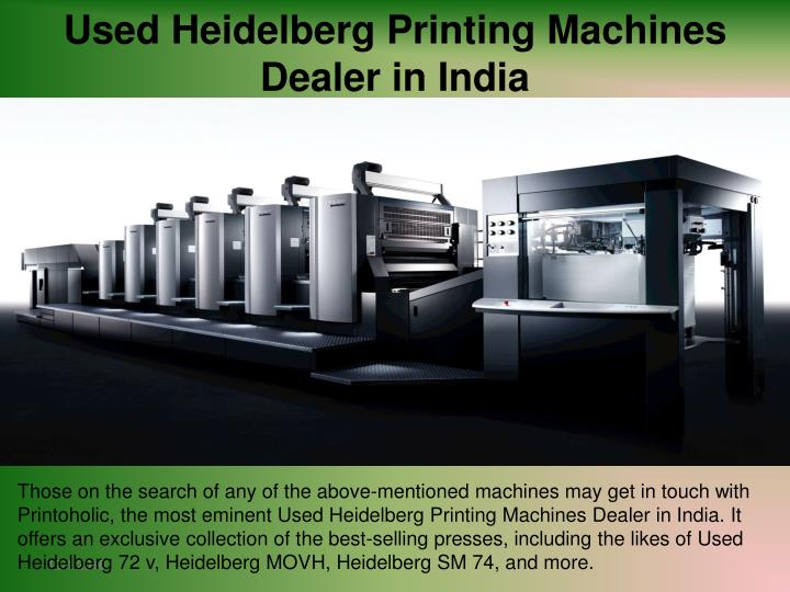 Used Heidelberg Printing Machines Dealer in India