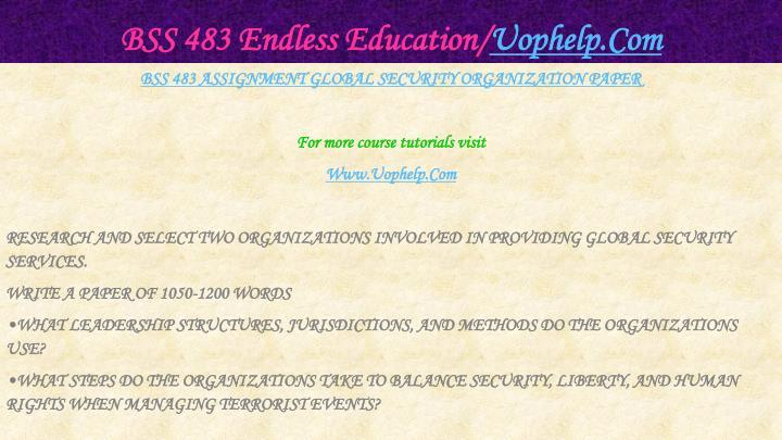 BSS 483 Endless Education/