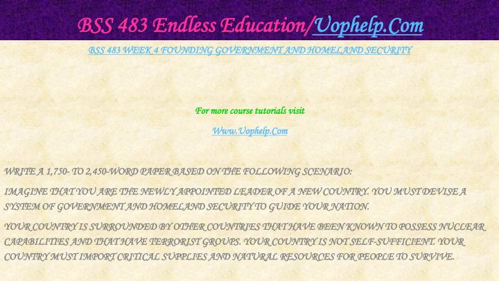 BSS 483 Endless Education/