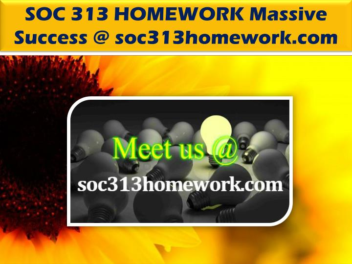 SOC 313 HOMEWORK Massive