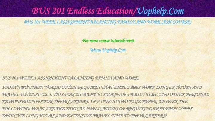 Bus 201 endless education uophelp com2