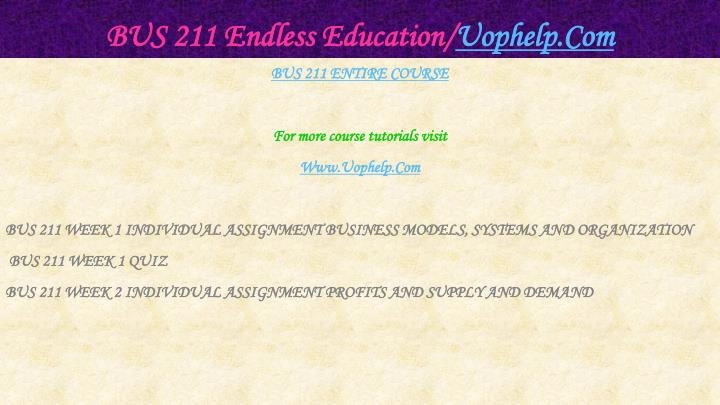 Bus 211 endless education uophelp com1