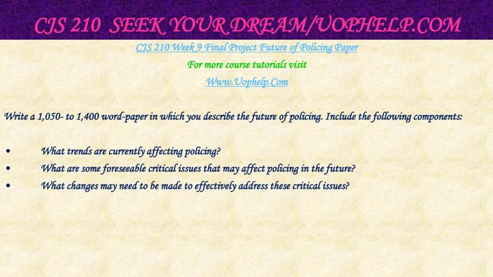 CJS 210  Seek Your Dream/