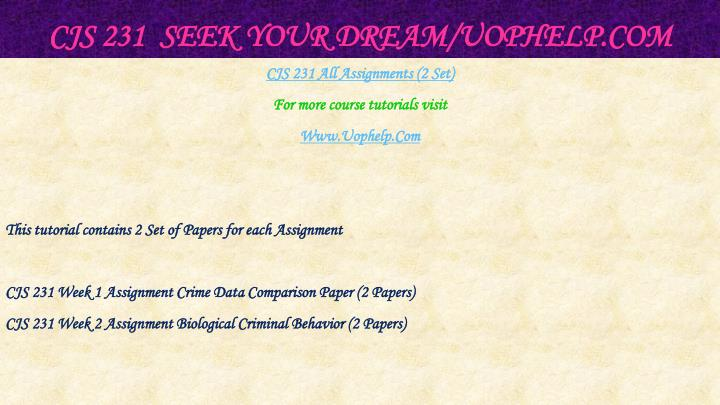 Cjs 231 seek your dream uophelp com1