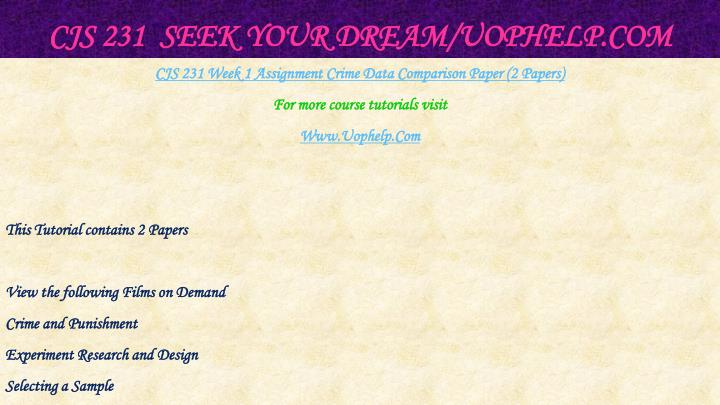Cjs 231 seek your dream uophelp com2