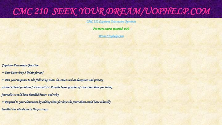 Cmc 210 seek your dream uophelp com2