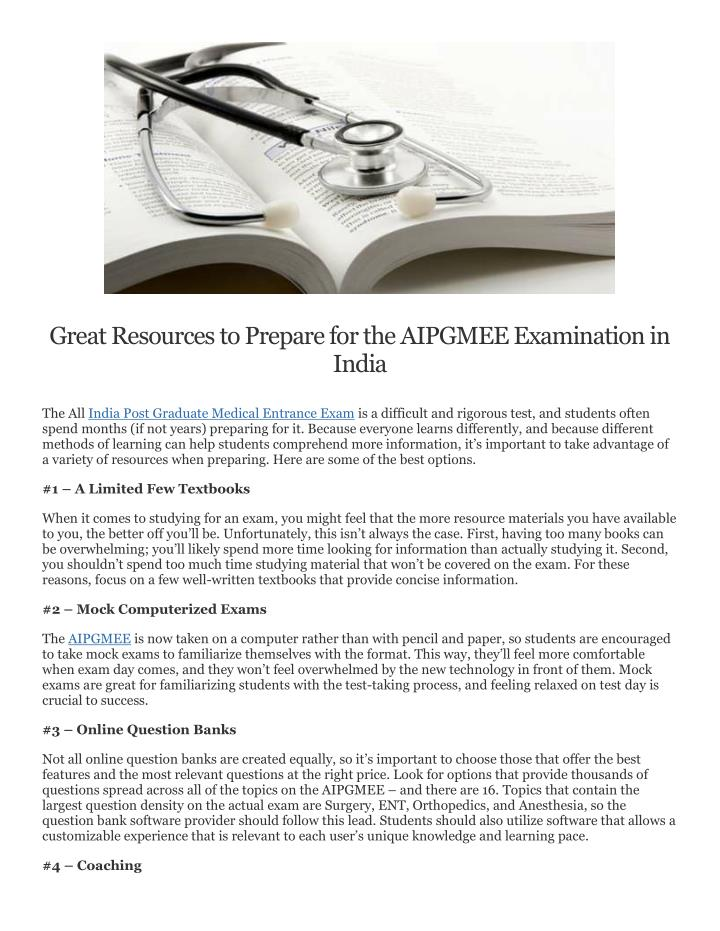 Great Resources to Prepare for the AIPGMEE Examination in
