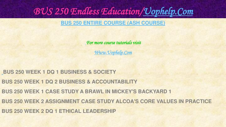 Bus 250 endless education uophelp com1