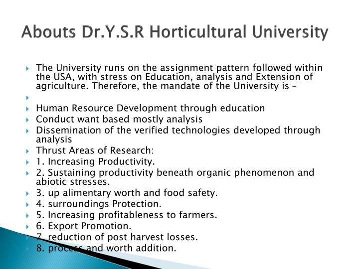 Abouts dr y s r horticultural university