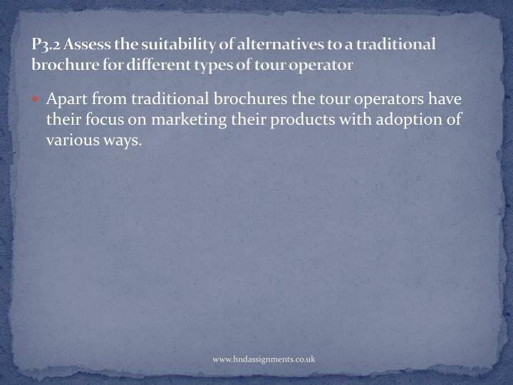 P3.2 Assess the suitability of alternatives to a traditional brochure for different types of tour operator