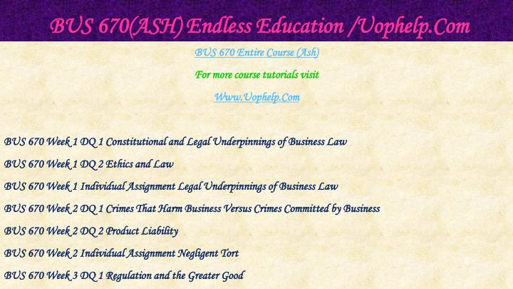 Bus 670 ash endless education uophelp com1
