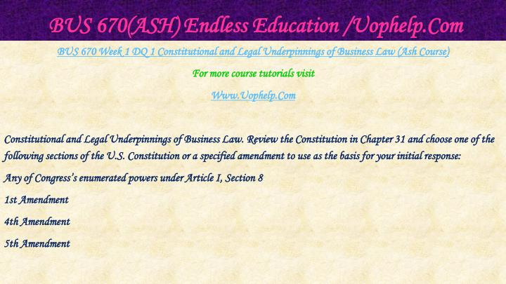 Bus 670 ash endless education uophelp com2