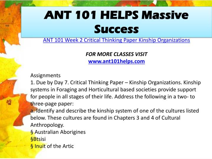 ANT 101 HELPS Massive Success