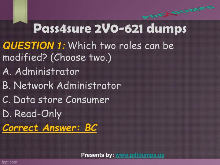 Pass4sure 2V0-621 dumps
