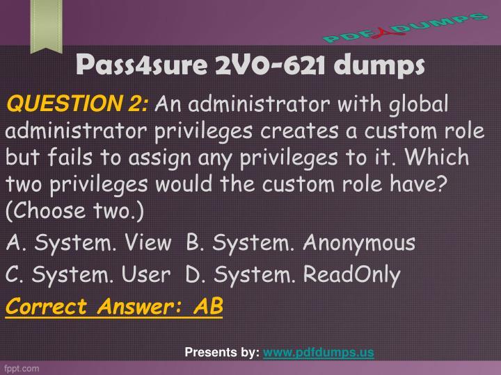 Pass4sure 2V0-621 dumps