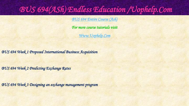 Bus 694 ash endless education uophelp com1