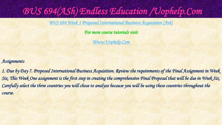 Bus 694 ash endless education uophelp com2