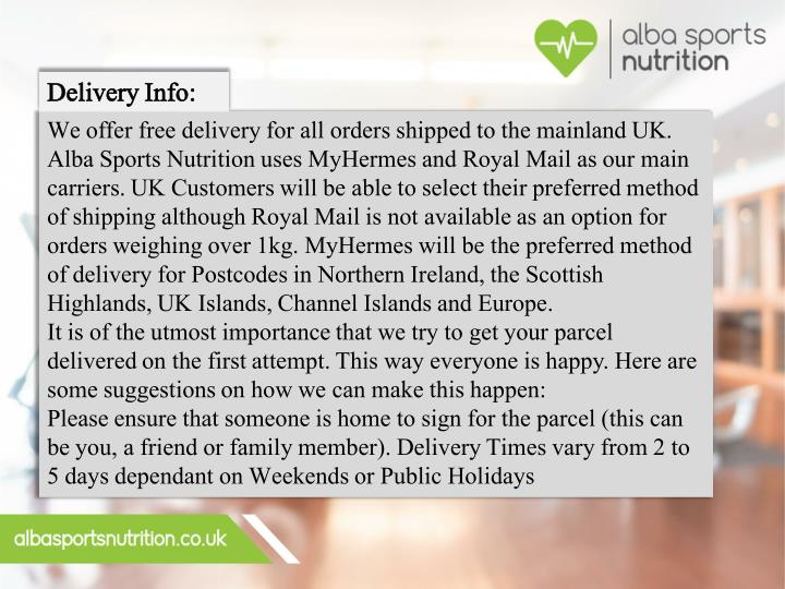 Delivery Info: