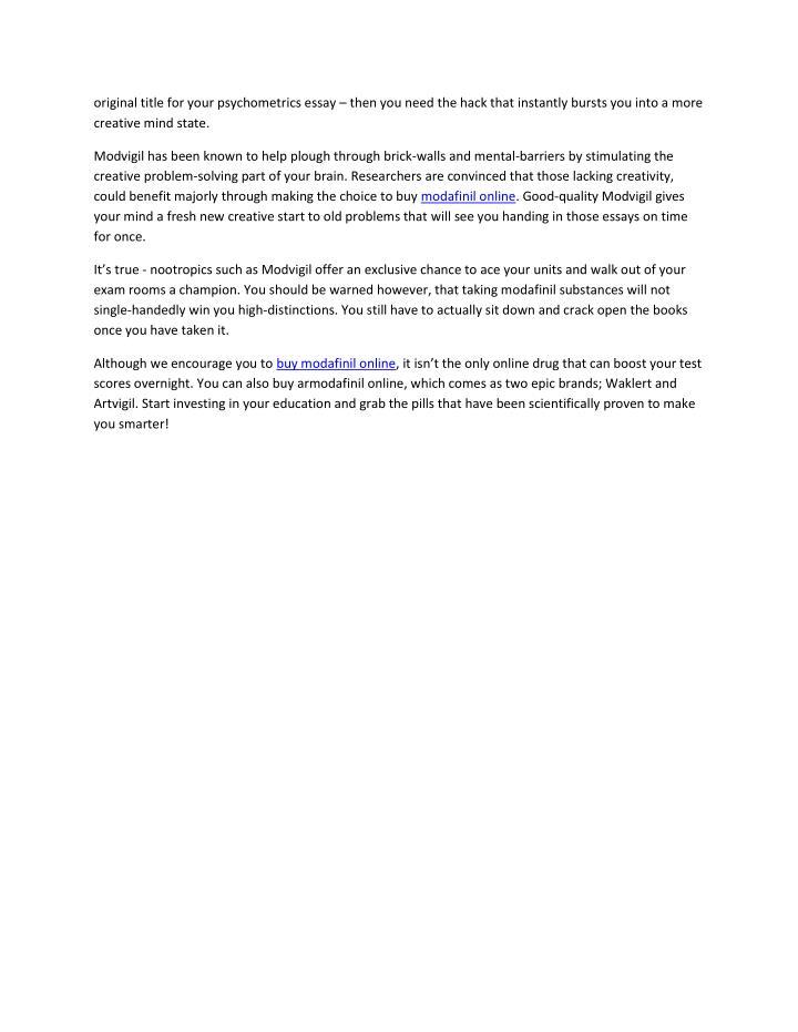 original title for your psychometrics essay