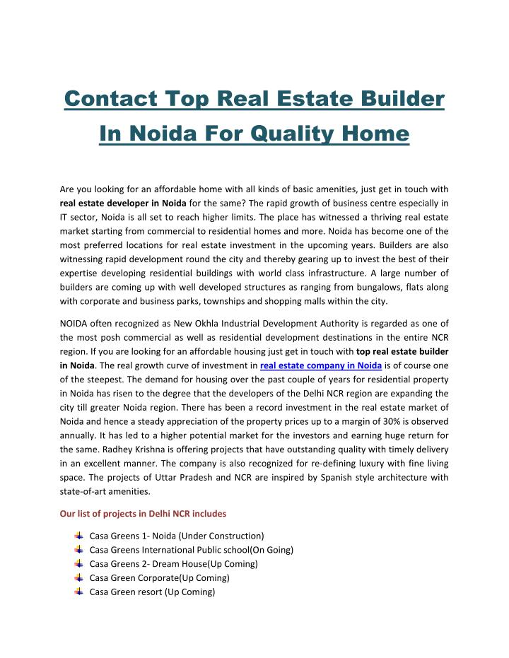 Contact Top Real Estate Builder