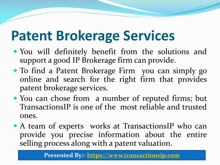 Patent Brokerage Services