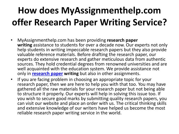 How does myassignmenthelp com offer research paper writing service