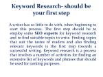 keyword research should be your first step