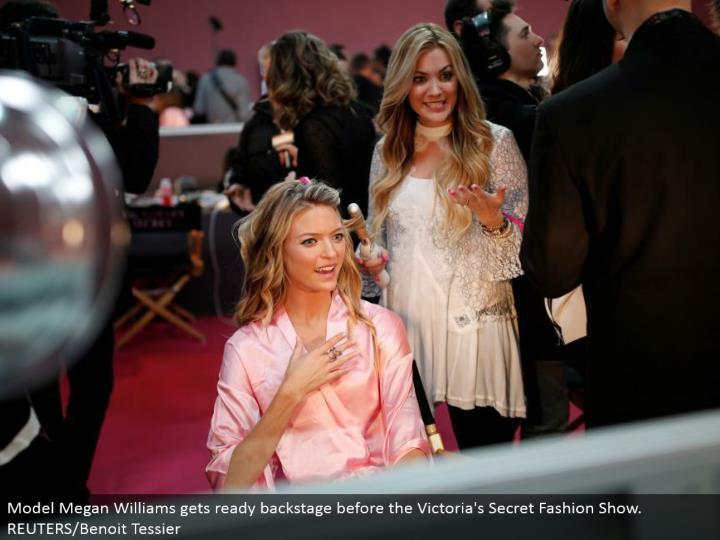 Model Megan Williams prepares backstage before the Victoria's Secret Fashion Show. REUTERS/Benoit Tessier