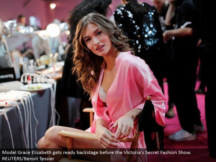 Model Grace Elizabeth prepares backstage before the Victoria's Secret Fashion Show. REUTERS/Benoit Tessier