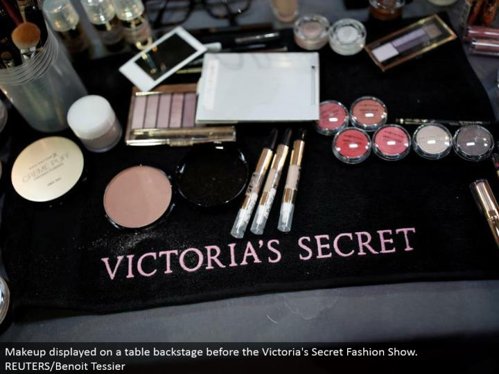 Makeup showed on a table backstage before the Victoria's Secret Fashion Show. REUTERS/Benoit Tessier