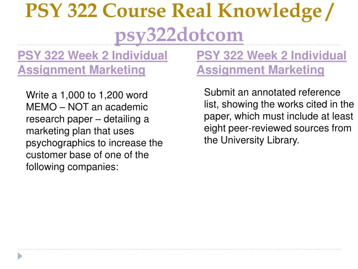 PSY 322 Course Real Knowledge /