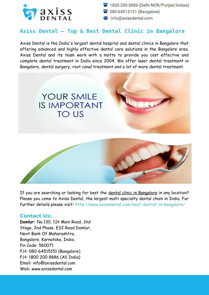 Axiss Dental – Top & Best Dental Clinic in Bangalore