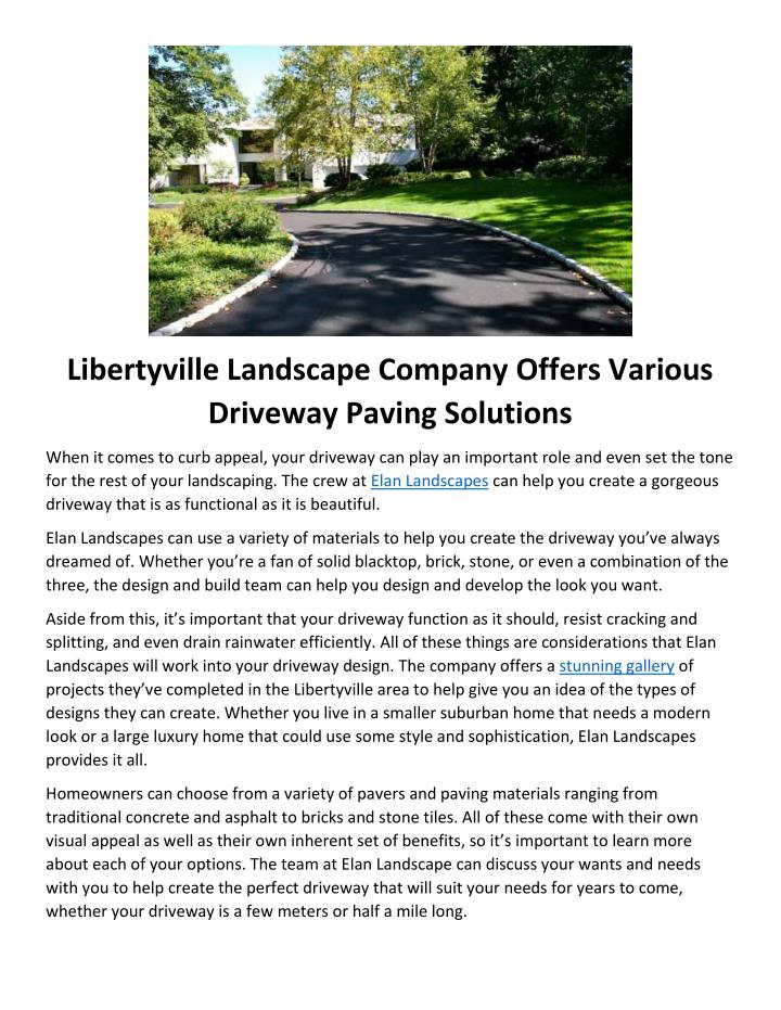 Libertyville Landscape Company Offers Various