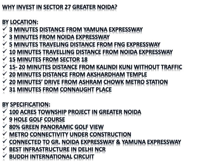 WHY INVEST IN SECTOR 27 GREATER NOIDA