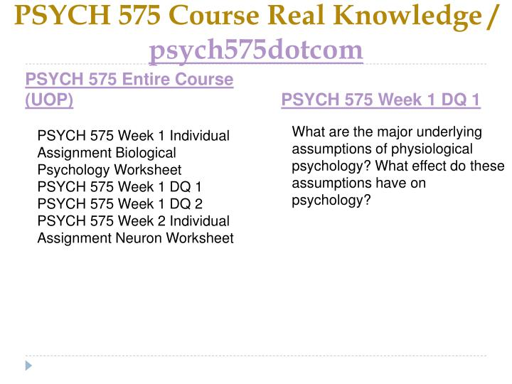 Psych 575 course real knowledge psych575dotcom1
