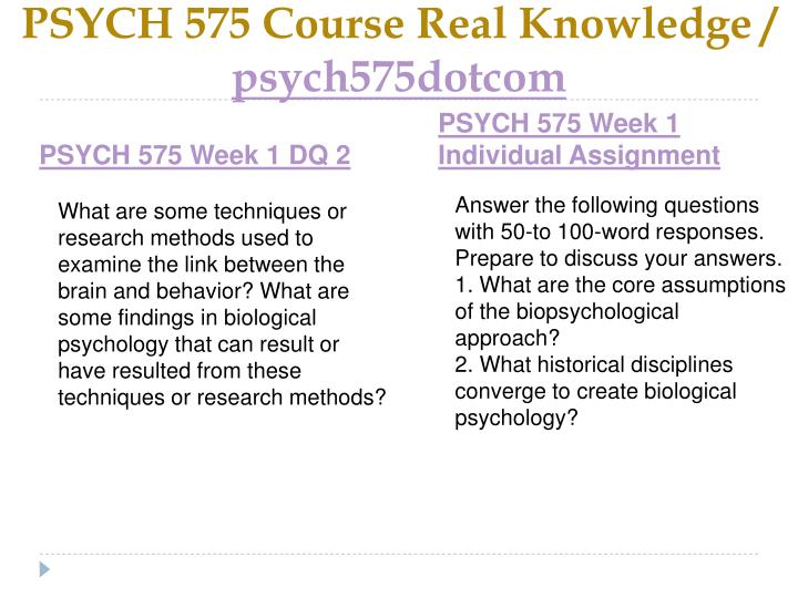 Psych 575 course real knowledge psych575dotcom2
