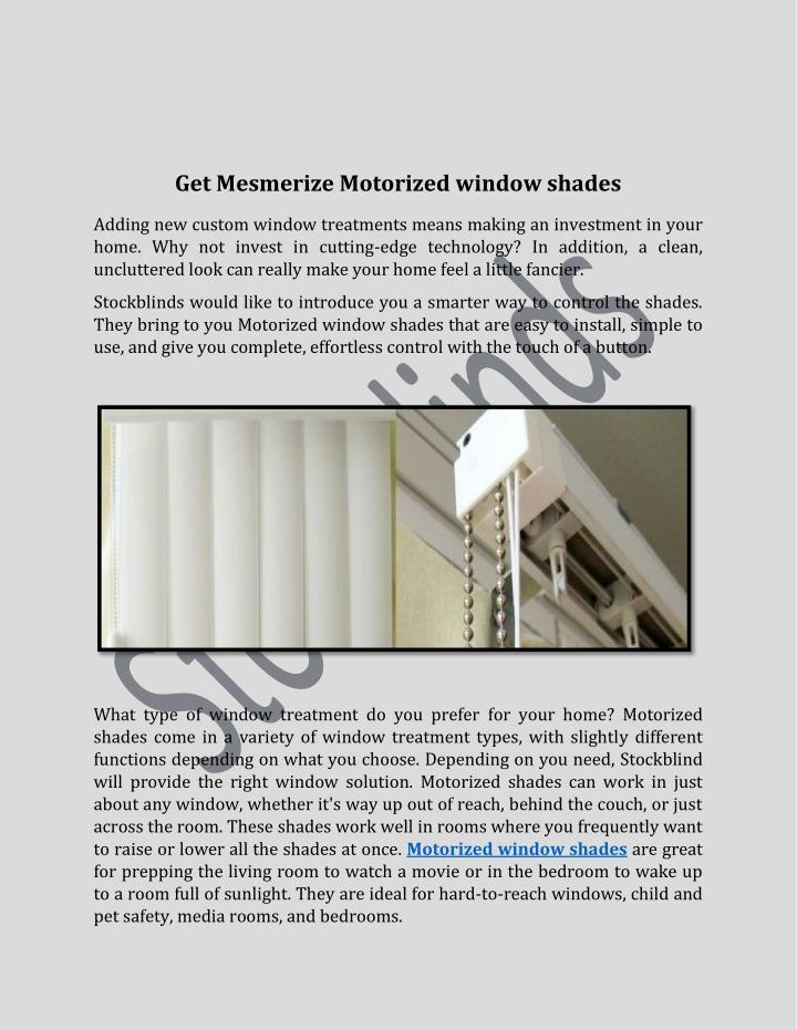 Get Mesmerize Motorized window shades